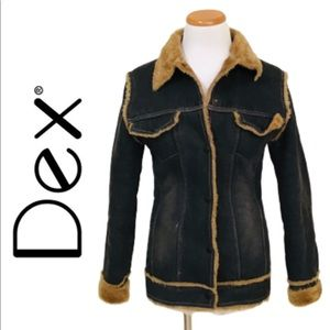 DEX Distressed Vegan Fur Lined Denim Jacket